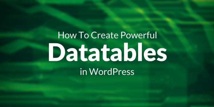 How To Create Powerful Datatables in Wordpress