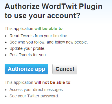 Authorize WordTwit