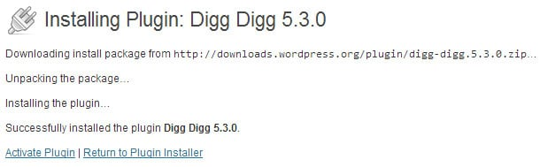 Activate the digg digg plugin